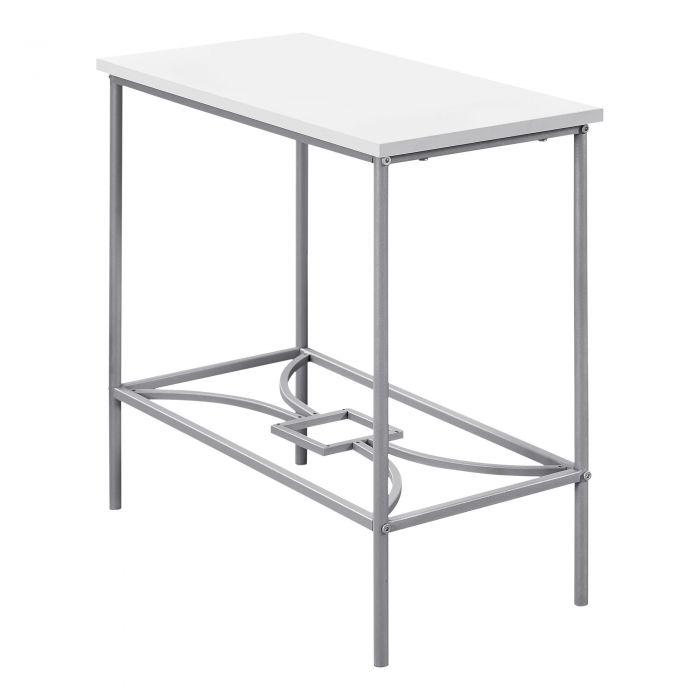 Table D Appoint Argent.Table D Appoint 22 H Blanc Metal Argent Monarch I 2077