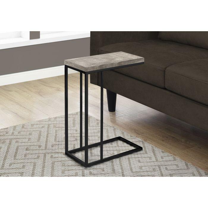 Table D Appoint Faux Bois Taupe Metal Noir Monarch I 3405