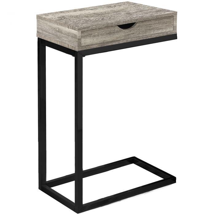 Table D Appoint Noir.Table D Appoint Metal Noir Faux Bois Taupe Tiroir Monarch I 3408
