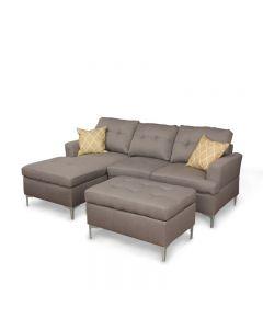 Sectionnel chaise longue avec pouf (PRIMO/GENOA/LINEN/TAUPE)