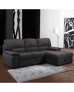 Sofa-lit chaise longue (PRIMO/TREVOR/RUSSEL GRIS)