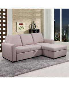 Sofa-lit avec chaise longue (PRIMO/NUNZIO/RUSSEL CREAM)