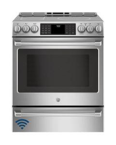 Cuisinière encastrable électrique de 30'' à induction avec Wi-Fi Connect (GE/CCHS985SELSS/INOX)