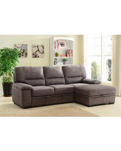 Sofa-lit chaise longue avec rangement (AMALF/SYBIL-70/80/URBAN BARK)