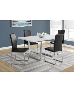 "TABLE A MANGER - 36""X 60 / BLANC LUSTRE / METAL CHROME (MONARCH/I 1118)"