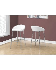 TABOURET DE BAR - 2PCS/BLANC/BASE CHROME/HAUTEUR COMPTOIR (MONARCH/I 2297)