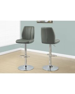 TABOURET DE BAR - 2PCS / GRIS / METAL CHROME HYDRAULIQUE (MONARCH/I 2336)