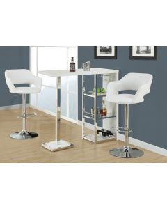 TABOURET DE BAR - BLANC / METAL CHROME HYDRAULIQUE (MONARCH/I 2358)