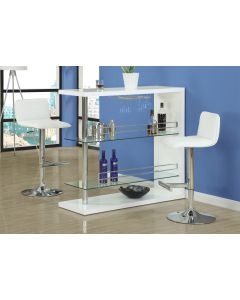 TABOURET DE BAR - 2PCS / BLANC / METAL CHROME HYDRAULIQUE (MONARCH/I 2365)