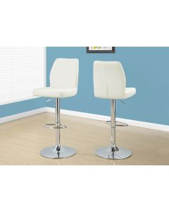 TABOURET DE BAR - 2PCS / BLANC / METAL CHROME HYDRAULIQUE (MONARCH/I 2370)