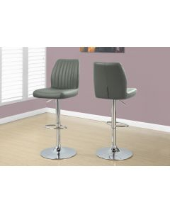 TABOURET DE BAR - 2PCS / GRIS / METAL CHROME HYDRAULIQUE (MONARCH/I 2372)