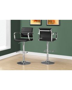 TABOURET DE BAR - 2PCS / NOIR / METAL CHROME HYDRAULIQUE (MONARCH/I 2373)