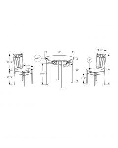 ENS SALLE A MANGER - 3PCS / METAL ARGENT / CAPPUCCINO (MONARCH/I 3075)