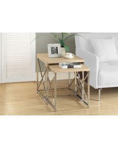 TABLES GIGOGNES - ENS. 2PCS / NATUREL / METAL CHROME (MONAR/I-3205/)