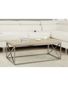 TABLE DE SALON - BOIS NATUREL AVEC METAL CHROME (MONAR/I-3208/)