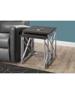 TABLES GIGOGNES - ENS 2PCS / GRIS ET METAL CHROME (MONAR/I-3226/)