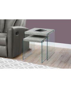 TABLES GIGOGNES - ENS 2PCS / GRIS CIMENTE / VERRE TREMPE (MONAR/I-3231/)