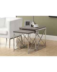 TABLES GIGOGNES - ENS. 2PCS / TAUPE FONCE / METAL CHROME (MONAR/I-3255/)