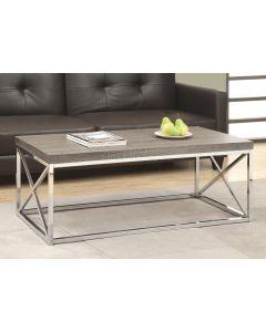 TABLE DE SALON - TAUPE FONCE AVEC METAL CHROME (MONAR/I-3258/)