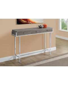 """TABLE D'APPOINT - 48""""L / TAUPE FONCE / METAL CHROME (MONARCH/I 3299)"""