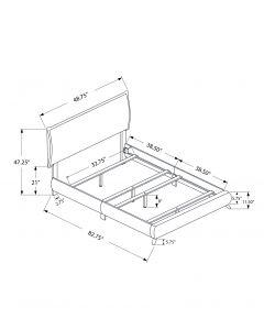 LIT - SIMPLE / PATTES EN BOIS SIMILI-CUIR BRUN FONCE (MONARCH/I 5952T)