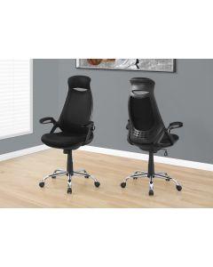 Chaise de bureau en tissu noir et à dossier haut (MONAR/I-7268/NOIR)