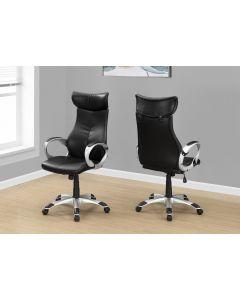 Chaise de bureau en simili-cuir noir  (MONAR/I-7290/)