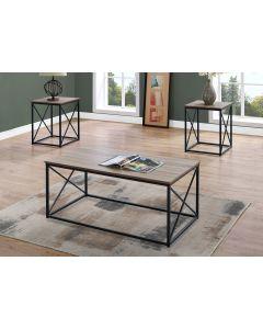 ENS DE TABLES - 3PCS / TAUPE FONCE / METAL NOIR (MONARCH/I 7950P)