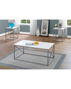 ENS DE TABLES - 3PCS / BLANC / METAL ARGENT (MONARCH/I 7951P)