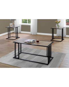 ENS DE TABLES - 3PCS / TAUPE FONCE / METAL NOIR (MONARCH/I 7955P)