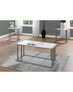 ENS DE TABLES - 3PCS / BLANC / METAL ARGENT (MONARCH/I 7956P)