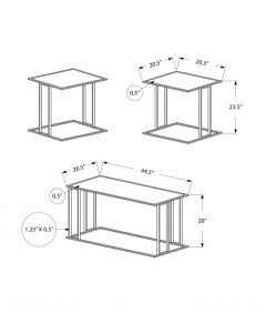 ENS DE TABLES - 3PCS / BLANC / METAL ARGENT (MONARCH/I 7956P)