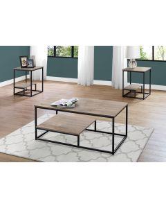 ENS DE TABLES - 3PCS / TAUPE FONCE / METAL NOIR (MONARCH/I 7960P)