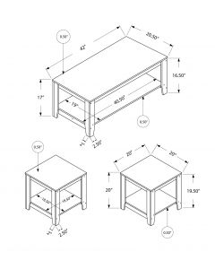 ENS DE TABLES - 3PCS / CAPPUCCINO (MONARCH/I 7990P)
