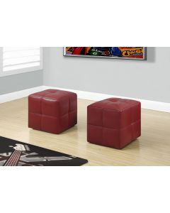 ENS POUF - 2PCS / JUVENILE / SIMILI CUIR ROUGE (MONARCH/I 8164)
