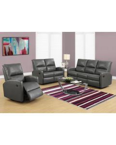 INCLINABLE - SOFA CUIR RECONSTITUE GRIS FONCE (MONARCH/I 84GY-3)