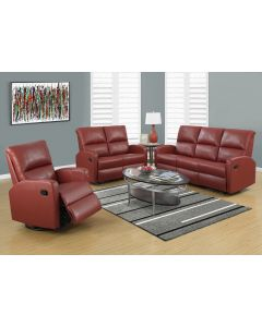 INCLINABLE - SOFA CUIR RECONSTITUE ROUGE (MONARCH/I 84RD-3)