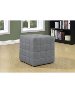 POUF - TISSU SIMILI-LIN GRIS PALE (MONARCH/I 8895)