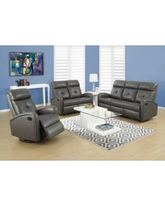 INCLINABLE - SOFA CUIR RECONSTITUE GRIS FONCE (MONARCH/I 88GY-3)