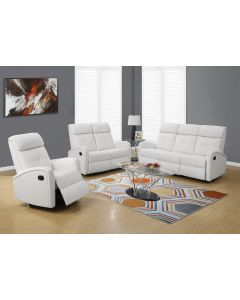 INCLINABLE - SOFA CUIR RECONSTITUE BLANC (MONARCH/I 88WH-3)